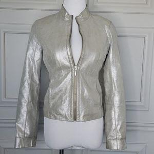 Genuine leather silver moto jacket